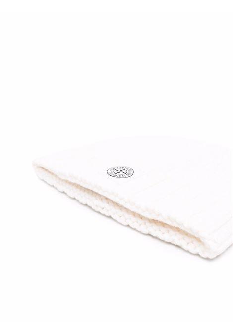 Berretto bianco panna in lana vergine con bordo in maglia a coste STONE ISLAND | Cappelli | 7515N17D6V0099