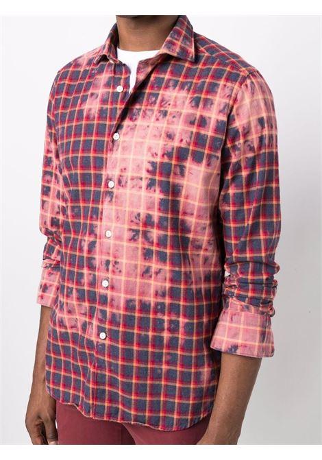 Camicia in cotone madras rosso tie-dye con stampa check TINTORIA MATTEI | Camicie | MSE-N9NQJ1