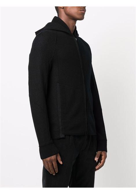Felpa con cappuccio slim fit in lana vergine nera con cappuccio TRANSIT | Giubbini | CFUTRP-K201U10