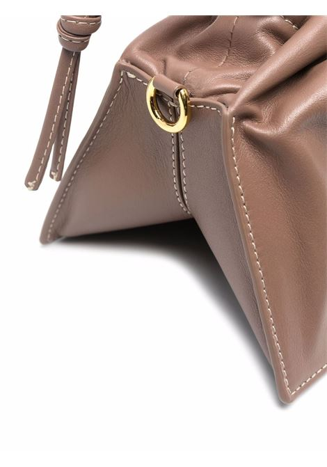 Taupe leather Bom shoulder bag with gold chain handle YUZEFI |  | BOM-YUZPF21-HB-BO14