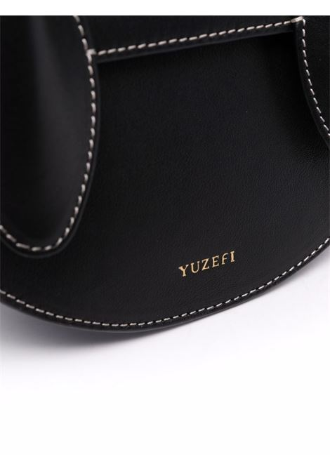 Black leather Dolores curved leather tote bag  YUZEFI |  | DOLORES-YUZICO-HB-DL00