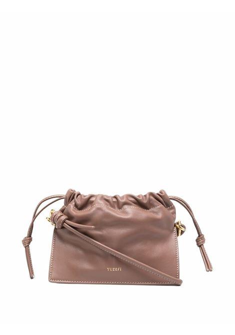Brown cotton knot-detail crossbody bag  YUZEFI |  | MINI BOM-YUZPF21-HB-MB14