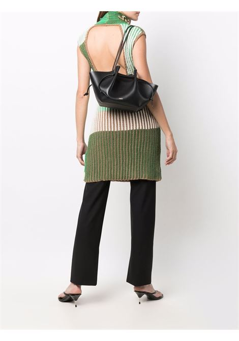 Black leather Mochi tote featuring white contrast stitching YUZEFI |  | MOCHI-YUZICO-HB-MO00