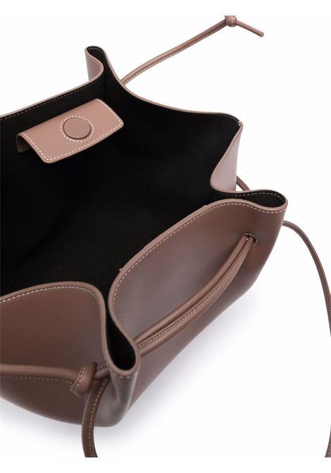 Brown Mochi leather tote featuring contrast stitching YUZEFI |  | MOCHI-YUZPF21-HB-MO14
