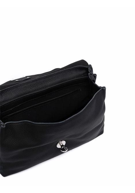 Borsa a tracolla Postina piccola in pelle nera con texture granata ZANELLATO | Borse a tracolla | 6806-PDZ9993