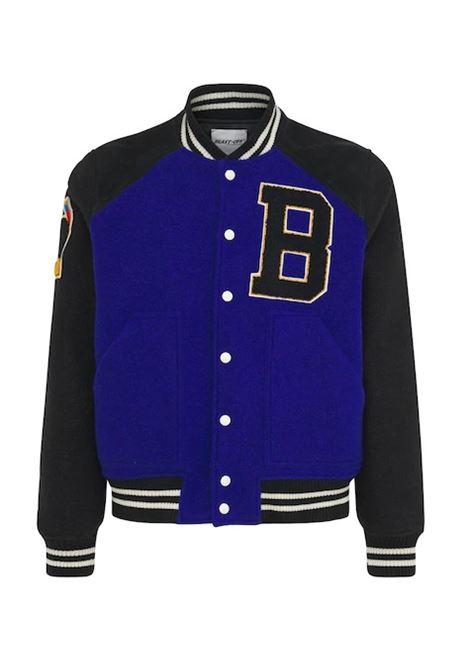Varsity Jacket in lana feltro blu e nero BLAST OFF | Giubbini | MIRA/PATCH04