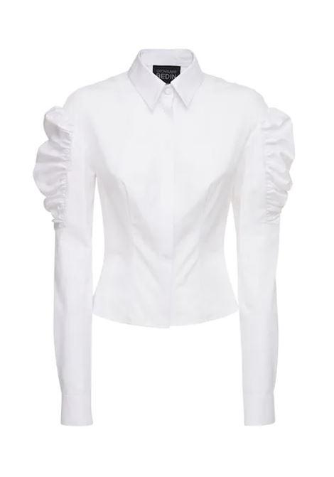 Camicia bianca in popeline bianco con rouches sulle spalle GIOVANNI BEDIN | Abiti | 60.0584-TE14131000