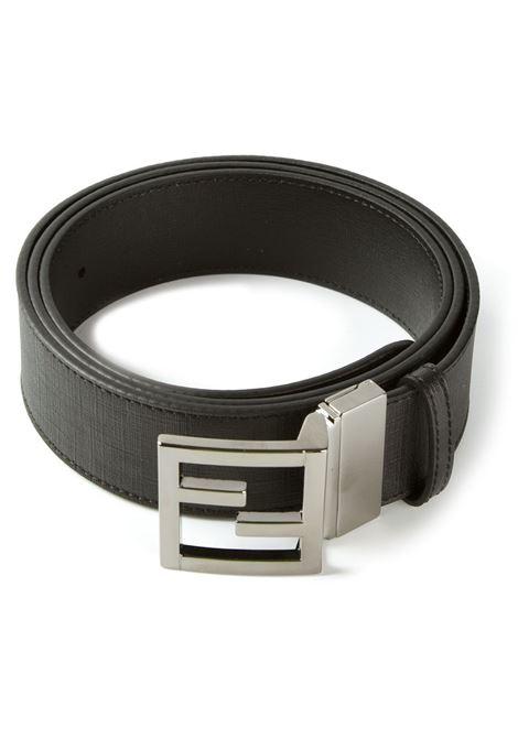 Cintura in pelle di vitello nera di 4 cm con fibbia argentata con logo FF FENDI | Cinture | 7C0281-GRPNERO