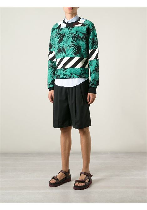 Multicoloured cotton palm tree print sweatshirt from MSGM.  MSGM |  | 1840MM107A-154018VERDE -NERO