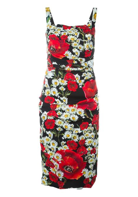 multicolored silk knee lenght dress DOLCE & GABBANA |  | F6VE6T-FSAONNERO-ROSSO