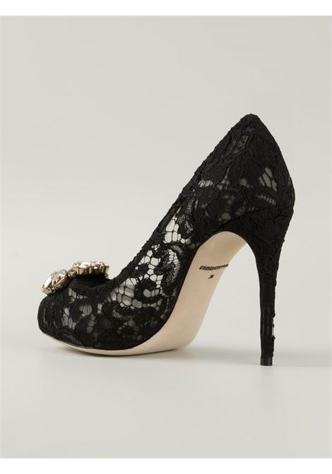 Black lace embellished peep toe pumps with crystal embellishments DOLCE & GABBANA |  | C19004-AF4538B956