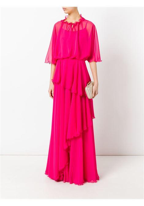 Fuchsia pink ruffled maxi dress TALBOT RUNHOF |  | MOLONIE1-ZW10340