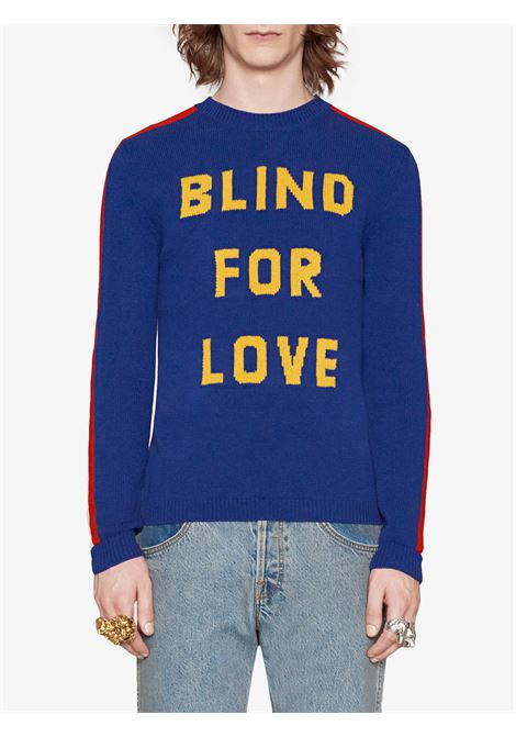 heavy wool blue knitwear with Blind for love front instarsia detail GUCCI |  | 496686-X9I824166