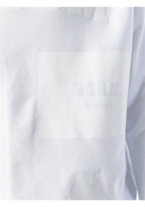 felpa in cotone bianco con girocollo a coste MSGM | Maglieria Moda | 2440MM90-18429801