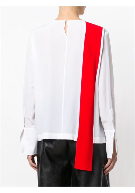 white crepe de chine silk blouse with contrasting red front panel  STELLA MC CARTNEY |  | 500126-SY2069000