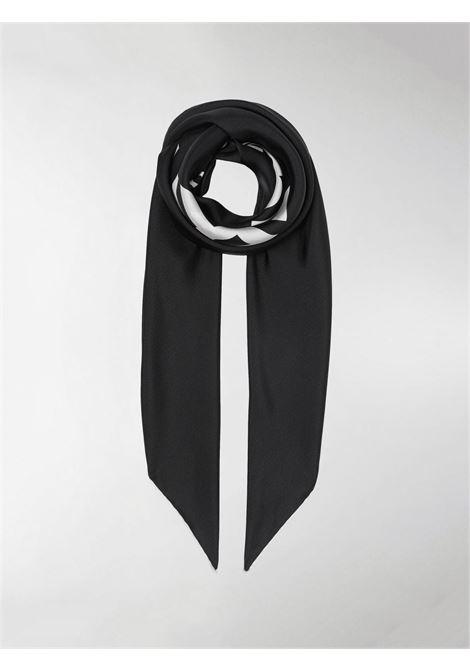 Italian-woven black silk twill foulard featuring white Horseferry print. BURBERRY |  | 8009398-SS HRSFRYA1189
