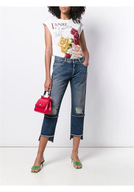jeans blu asimmetrici cropped effetto usato DOLCE & GABBANA | Pantaloni | FTA0PD-G8V47S9000