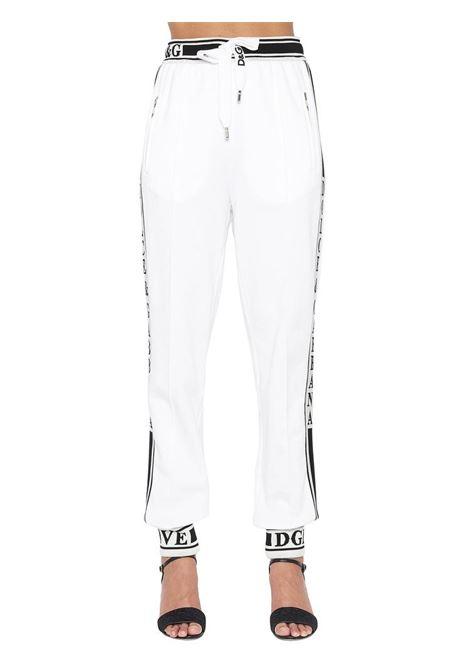 pantaloni sportivi bianco / nero con polsini logati elasticizzati DOLCE & GABBANA | Pantaloni | FTBDTT-FU7DUW0800