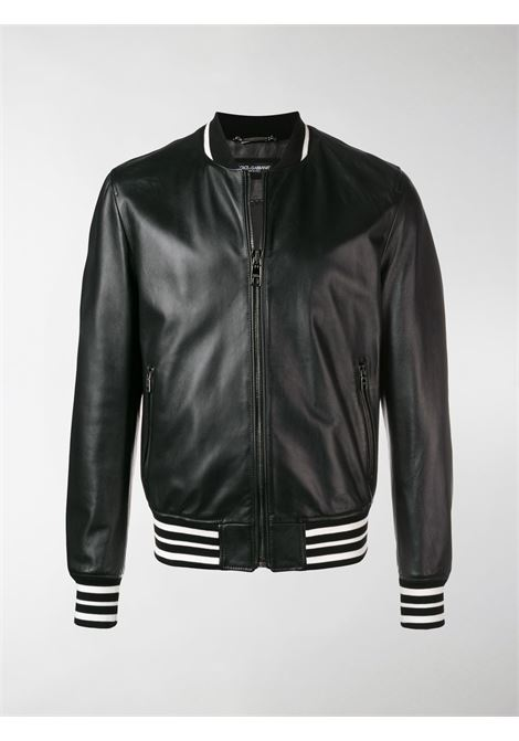 classic black leather bomber with white contrasting trims DOLCE & GABBANA |  | G9NK4L-HULCPN0000