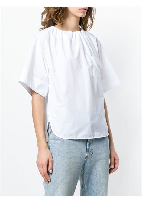 white cotton blouse features a round neck GGDB |  | G34WP045.A4A4