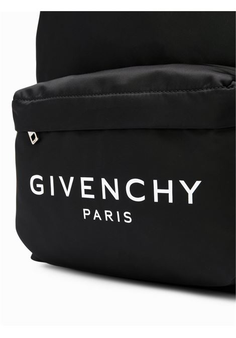 black nylon backpack with front white Givenchy lettering logo pocket GIVENCHY |  | BK500JK0AK-URBAN004