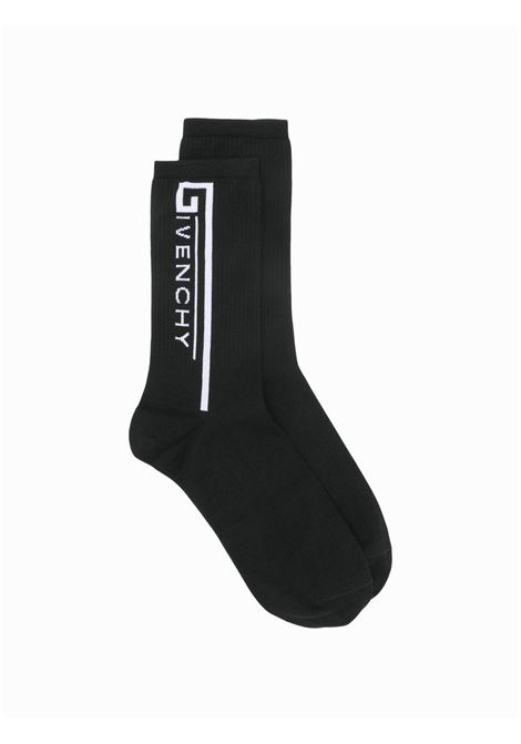 cotton and elastane black Givenchy white side logo socks GIVENCHY |  | BMB00P4037004