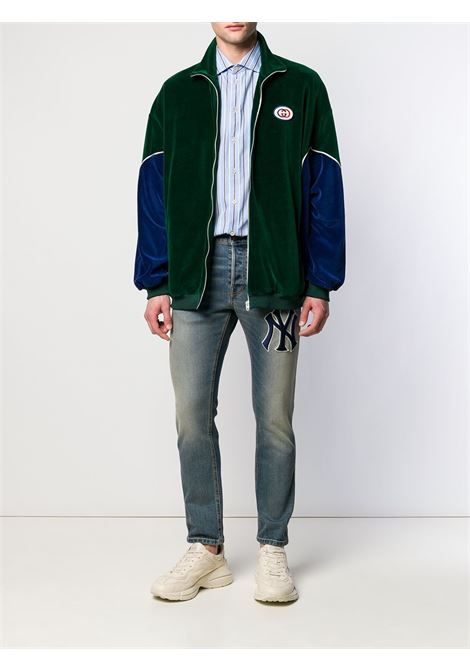 panelled green and blue velvet jacket with front white zip GUCCI |  | 560253-XJA3J3055