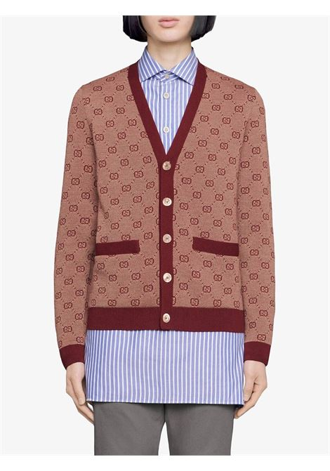 beige and burgundy GG jacquard motif  wool cotton cardigan  GUCCI |  | 572631-XKAKV9192