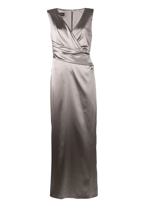 Grey fitted evening gown featuring a deep V neck TALBOT RUNHOF |  | RODIGO1-1200118
