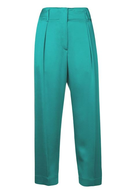 Peacock blue cotton cropped straight-leg trousers featuring a waistband with belt loops FORTE_FORTE |  | 6034PEACOCK