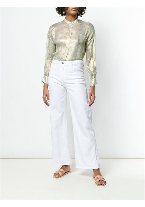 Gold silk long sleeved blouse featuring a mandarin collar FORTE_FORTE |  | 6064SIRENA