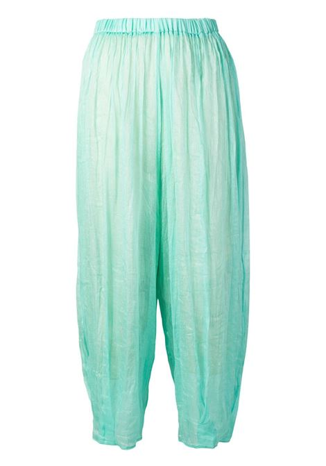 Aqua blue silk and linen blend elasticated waist trousers  FORTE_FORTE |  | 6286ACQUA