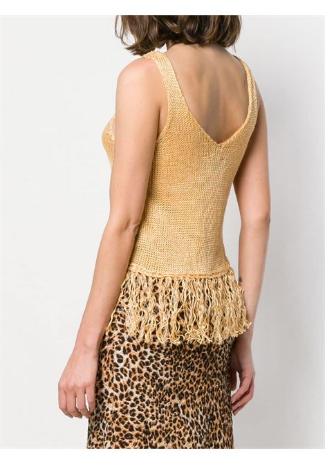 Gold-tone linen blend fringed knit tank top  FORTE_FORTE |  | 6306ORO