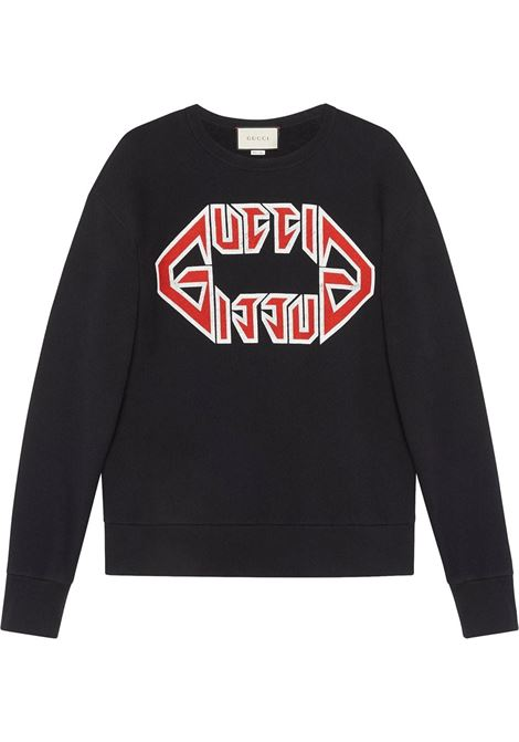 heavy felted cotton black sweatshirt with front red Gucci Metal print GUCCI |  | 475532-XJAK21880
