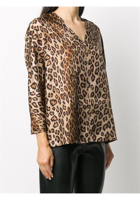Beige and brown leopard-print silk blouse ALBERTO BIANI |  | MM808-SE310660
