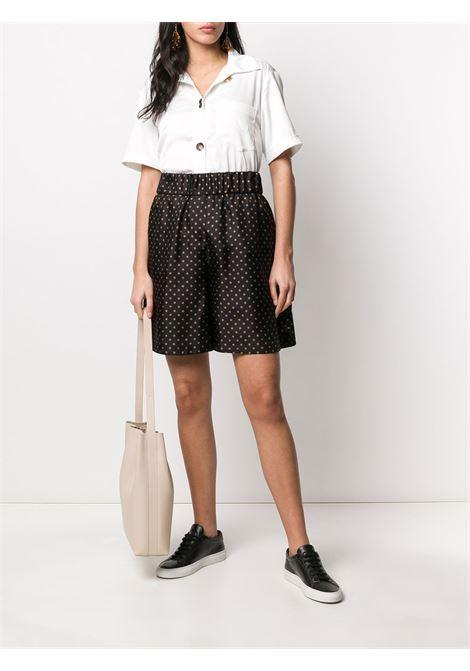 Brown silk blend polka dot shorts  ALBERTO BIANI |  | CC846-SE310390