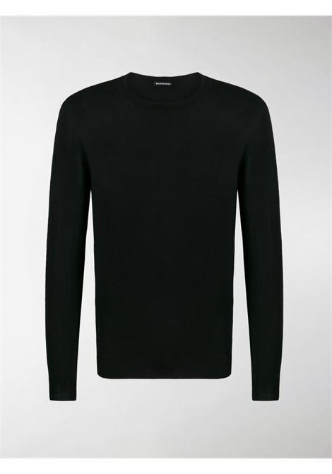pullover nero di lana rasata con logo Balenciaga verde BALENCIAGA | Maglieria Moda | 583117-T14396076