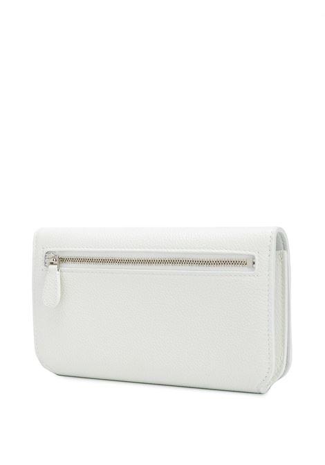 borsa a tracolla in pelle bianca con catena e logo rosa BALENCIAGA | Portafogli | 593785-1IZF39066