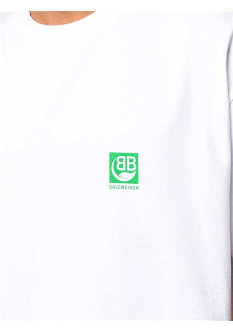 t.shirt bianca in cotone con logo BB Balenciaga verde BALENCIAGA | Maglieria Moda | 594579-THV639000
