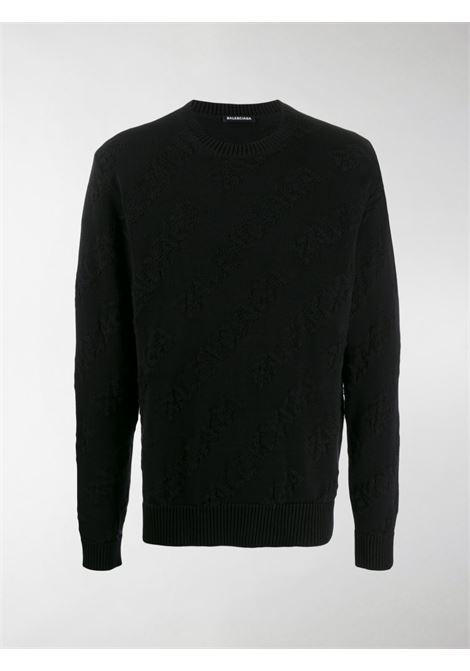 pullover nero in cotone con logo Balenciaga ricamato tono su tono BALENCIAGA | Maglieria Moda | 599870-T31661000