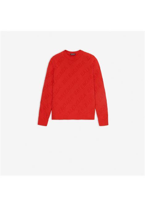 pullover rosso con logo Balenciaga ricamato BALENCIAGA | Maglieria Moda | 599870-T31666400