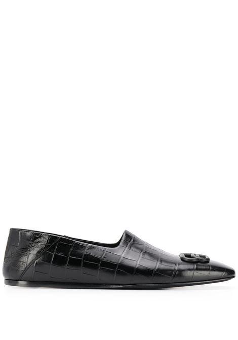 mocassini/slippers in pelle nera effetto coccodrillo con logo BB BALENCIAGA | Scarpa | 601255-WA9D41000