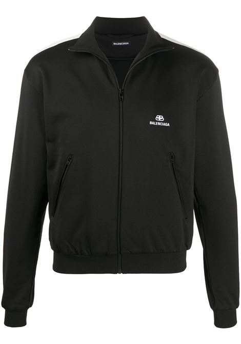 felpa nera con zip e bande laterali bianche BALENCIAGA | Maglieria Moda | 601727-TGV041070