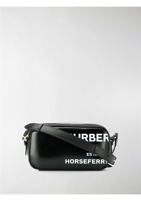 black leather camera bag with white Burberry lettering print BURBERRY |  | 8022339-LS CAMERA MICROA1189