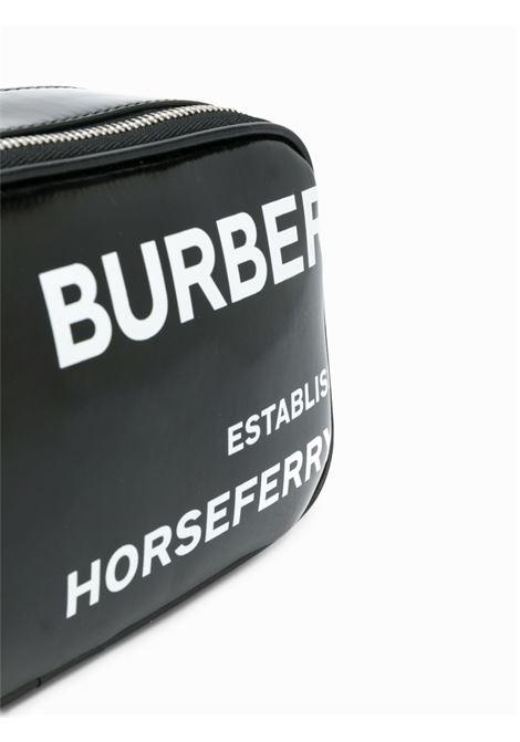 camera bag in pelle nera con stampa bianca all over BURBERRY | Borsa | 8022339-LS CAMERA MICROA1189