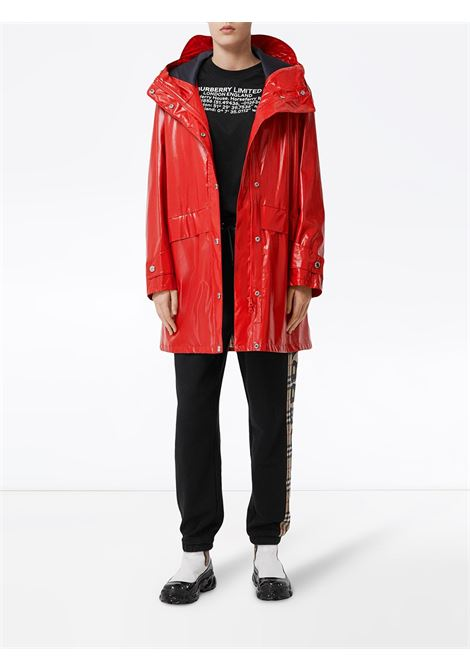 parka in nylon lucido rosso on logo sulle spalle BURBERRY | Giaccone | 8022739-CRAMONDA1460