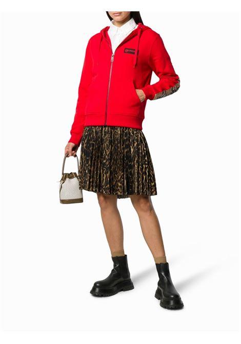 felpa rossa a maniche lunghe con zip e dettagli Burberry Check BURBERRY | Maglieria Moda | 8024544-AUBREEA1460