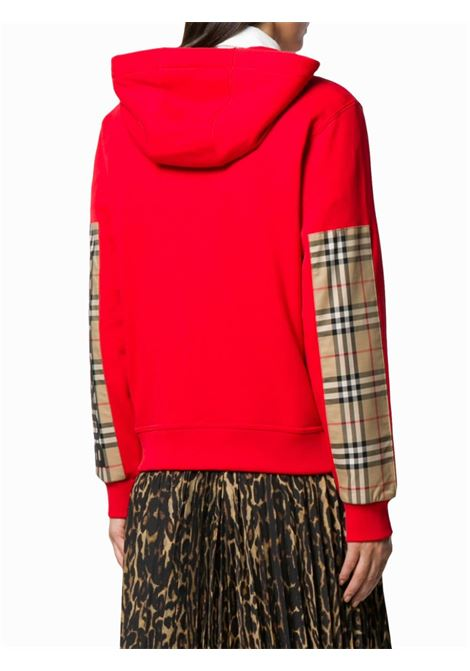 red cotton hoodie with Burberry Check print details BURBERRY |  | 8024544-AUBREEA1460