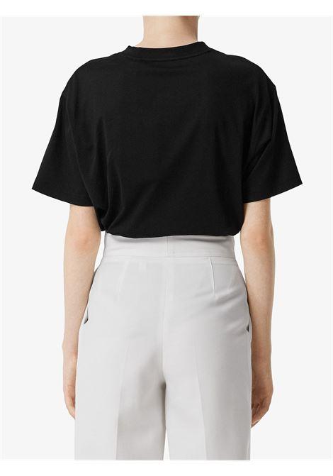 t.shirta nera in cotone con coordinate geografiche Burberry stampate in bianco BURBERRY | Maglieria Moda | 8024628-CARRICKA1189
