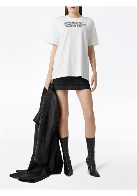 white oversized cotton t.shirt with Burberry headquarters coordinates print